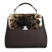 COFFEE LARGE BASE - LEOPOLDINE FLAP IN LEOPARD EFFECT FUR - COFFEE HAND-CARRY HANDLE