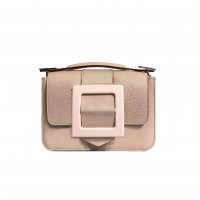 LITTLE BAG - NUDE FULL-GRAIN & GUS BOUCLE FLAP - NUDE AND NUDE & HAND-CARRY HANDLE - NUDE FULL-GRAIN