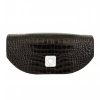 TIPSY FLAP - BLACK SHINY CROCO & BLACK FULL-GRAIN