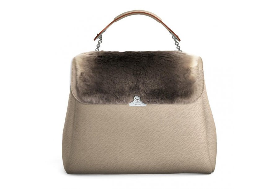 LEOPOLDINE FLAP - TAUPE FUR & TAUPE  FULL-GRAIN & UNDERSIDE IN LEATHER FINISH