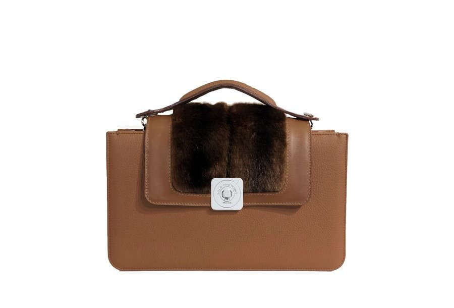 MIDDLE BAG CAMEL - GUS DREAM FLAP CAMEL SMOOTH & BROWN FUR - HAND-CARRY HANDLE CAMEL
