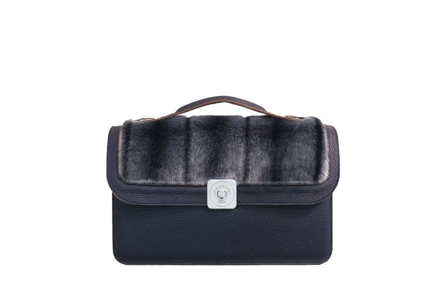 MIDDLE BAG BLUE - DREAM FLAP BLUE FULL-GRAIN & BLUE FUR - HAND-CARRY HANDLE BLUE