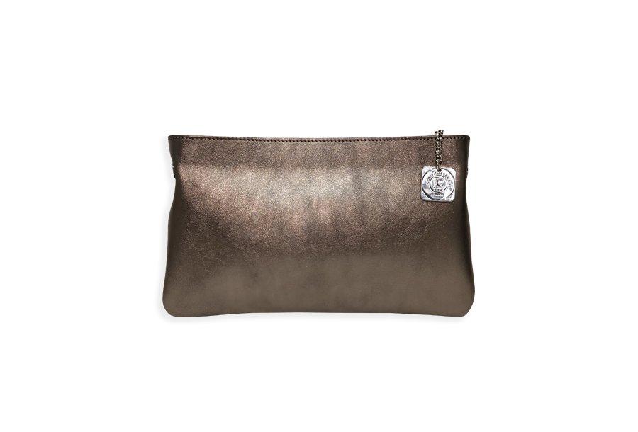 Clutch bag body: calfskin Bronze metallic leather