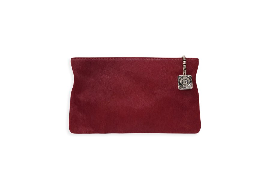 Clutch bag body: Red pony-effect fur