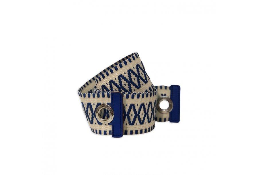 EXTRA LARGE SHOULDER STRAP FABRIC - ECRU-BLUE & CHINA BLUE