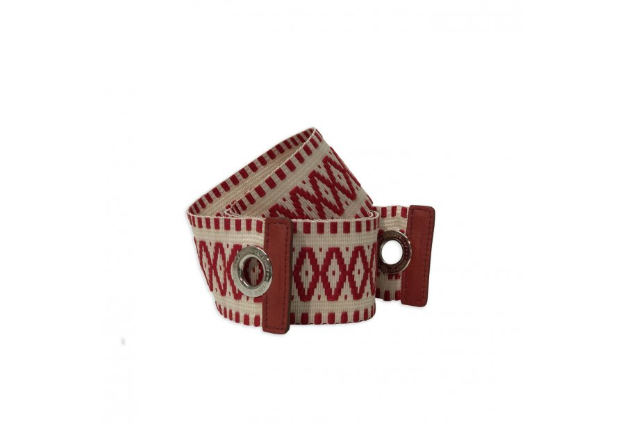 EXTRA LARGE SHOULDER STRAP FABRIC - ECRU-RED & RED SMOOTH