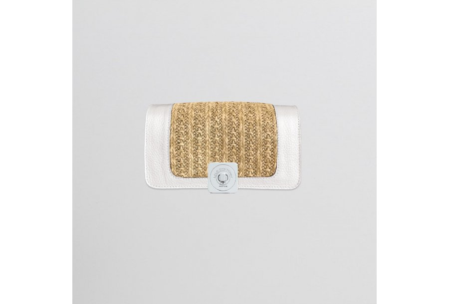 GUS DREAM FLAP - WHITE LEATHER & HONEY FABRIC 244 & LEATHER