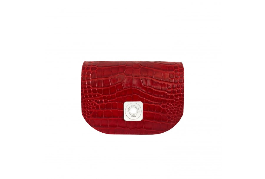 GUS FLAP - RED SHINY CROCO & BORDEAUX SMOOTH