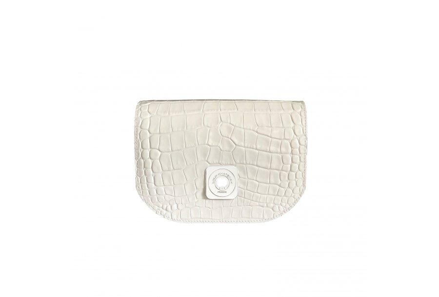 GUS FLAP - WHITE SHINY CROCO & ECRU SMOOTH