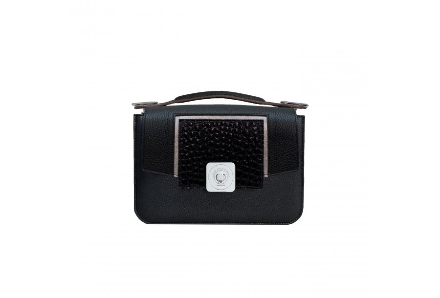 LITTLE BAG - BLACK & GUS COLETTE FLAP - BLACK AND SILVER & HAND-CARRY HANDLE - BLACK