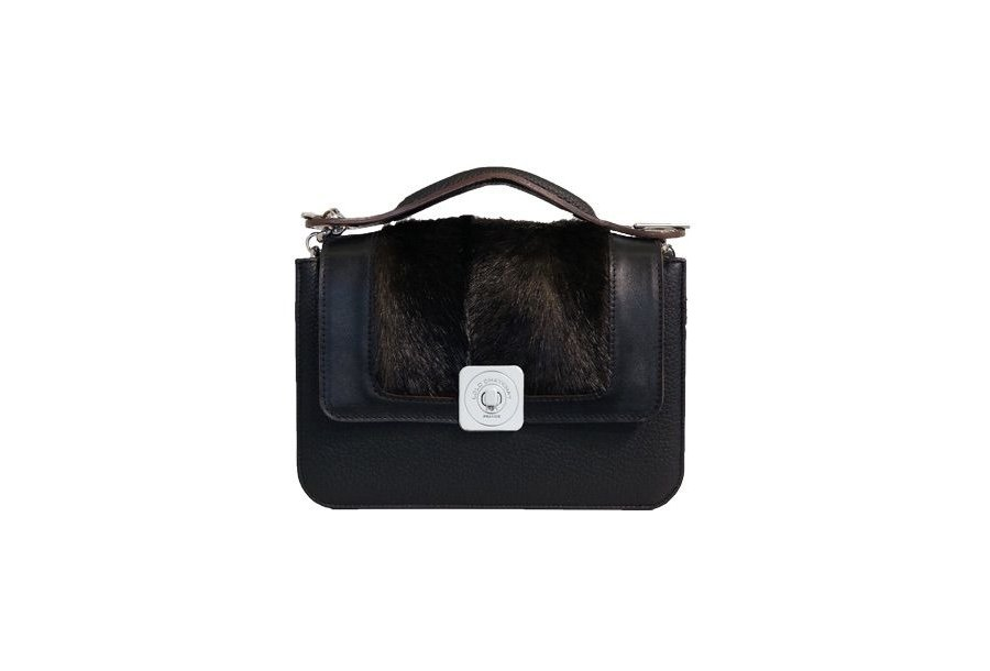 GUS DREAM FLAP - BLACK SMOOTH & BROWN FUR & UNDERSIDE IN LEATHER FINISH
