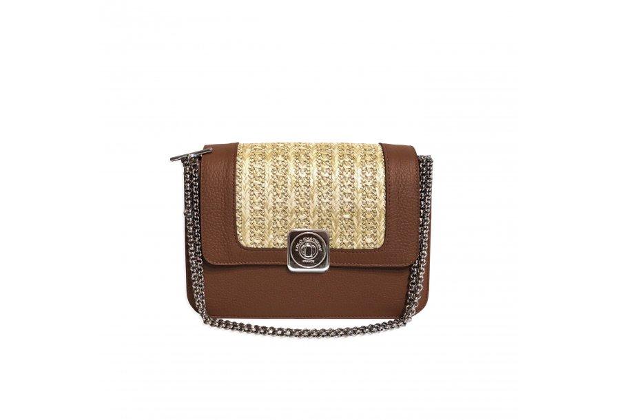 LITTLE BAG Camel & Black - GUS DREAM FLAP Camel & Honey woven fabric - Chain STRAP