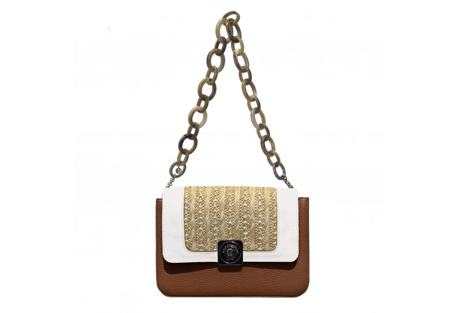 LITTLE BAG Camel & Black - GUS DREAM FLAP White & Honey woven fabric - SHOULDER-CARRY HANDLE Taupe Plastic