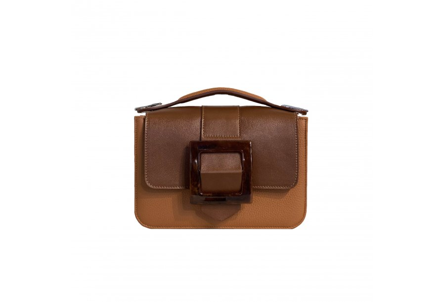 LITTLE BAG - CAMEL & GUS SQUARE BOUCLE FLAP - CAMEL AND BROWN & HAND-CARRY HANDLE - CAMEL
