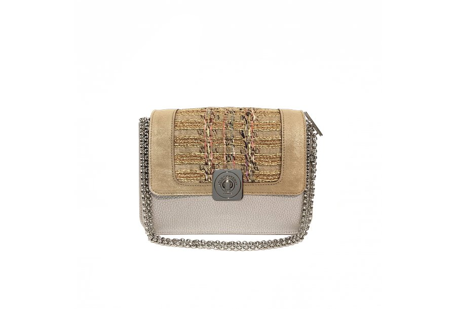 LITTLE BAG Silver - GUS STRASS FLAP Sand & Golden tweed - Chain STRAP