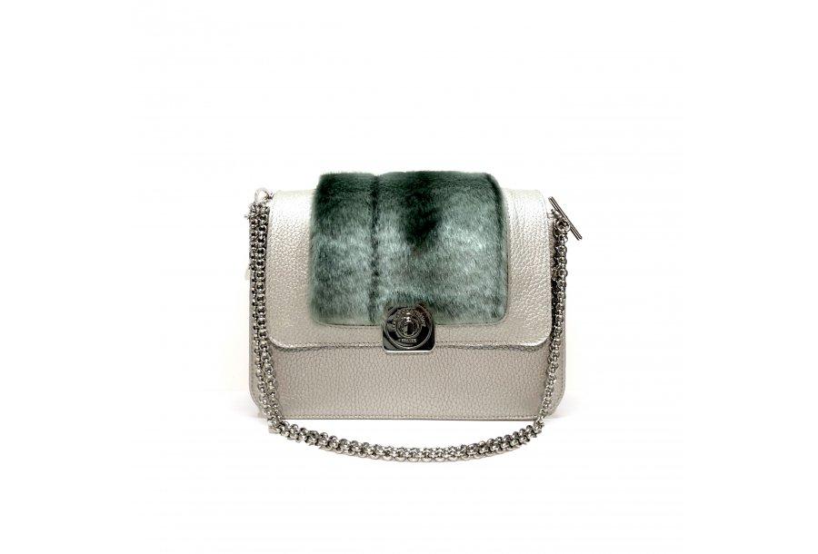 LITTLE BAG Silver - GUS STRASS FLAP Silver & Green Faux Fur - Chain STRAP