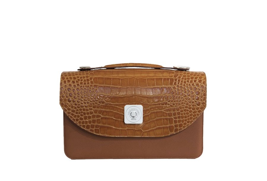 TIPSY FLAP - CAMEL ALLIGATOR & UNDERSIDE IN LEATHER FINISH