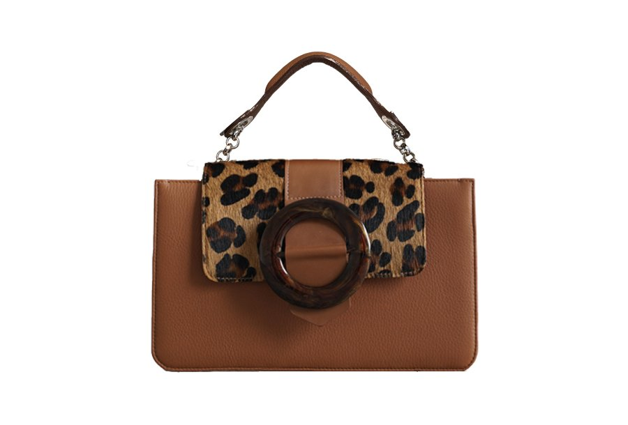 MIDDLE & GUS ROUND BUCKLE & HAND-CARRY HANDLE (COLORS : CAMEL, BLACK, COFFEE)
