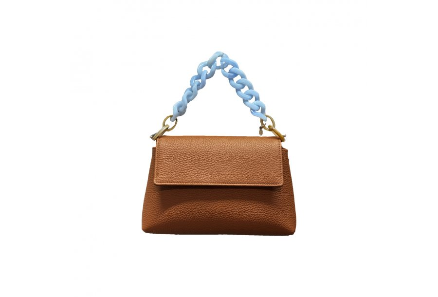 MINI BAG - CAMEL FULL-GRAIN & PLASTIC CHAIN - BLUE