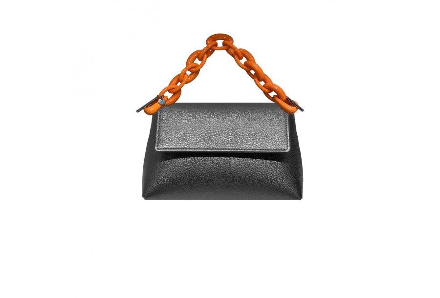 MINI BAG - LITHIUM FULL-GRAIN & HAND-CARRY HANDLE PLASTIC CHAIN - ORANGE