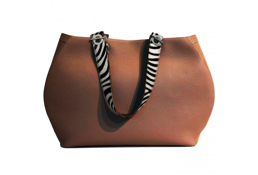SHOPPING BAG 48H - CAMEL FULL-GRAIN