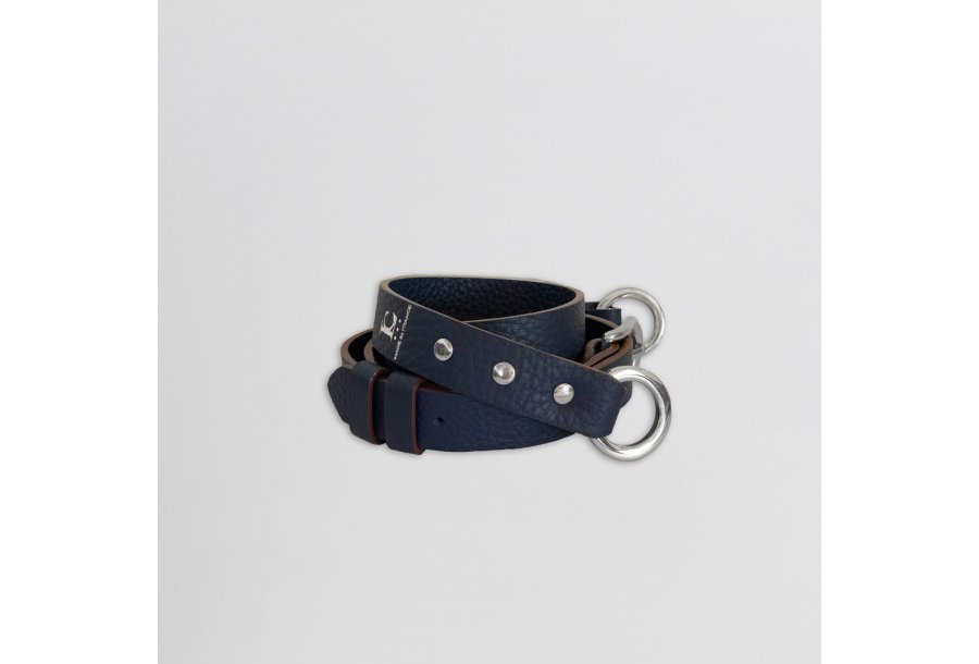 Shoulder strap buckle 97, in Blue bullcalf leather