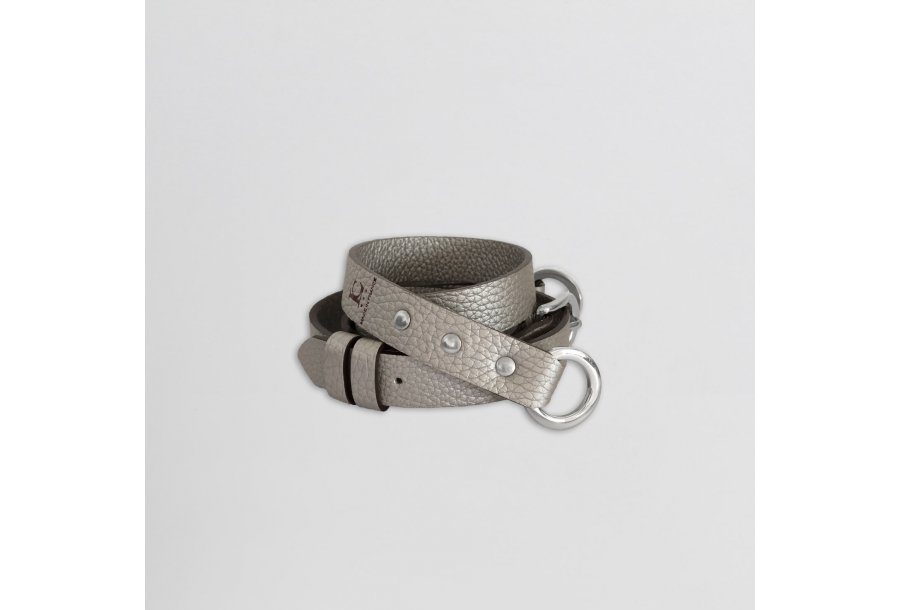 SHOULDER STRAP BUCKLE, IN SILVER BULCALF LEATHER
