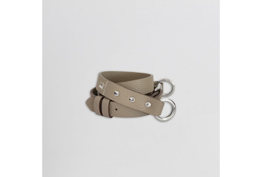 SHOULDER STRAP BUCKLE, IN TAUPE BULCALF LEATHER