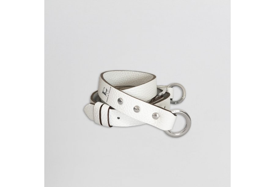 SHOULDER STRAP BUCKLE, IN WHITE BULCALF LEATHER