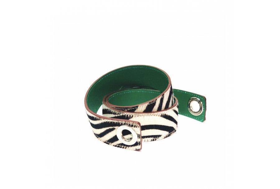 Shoulder strapbuckle Large, in Zebra poney-effect fur & Green calfskin leather