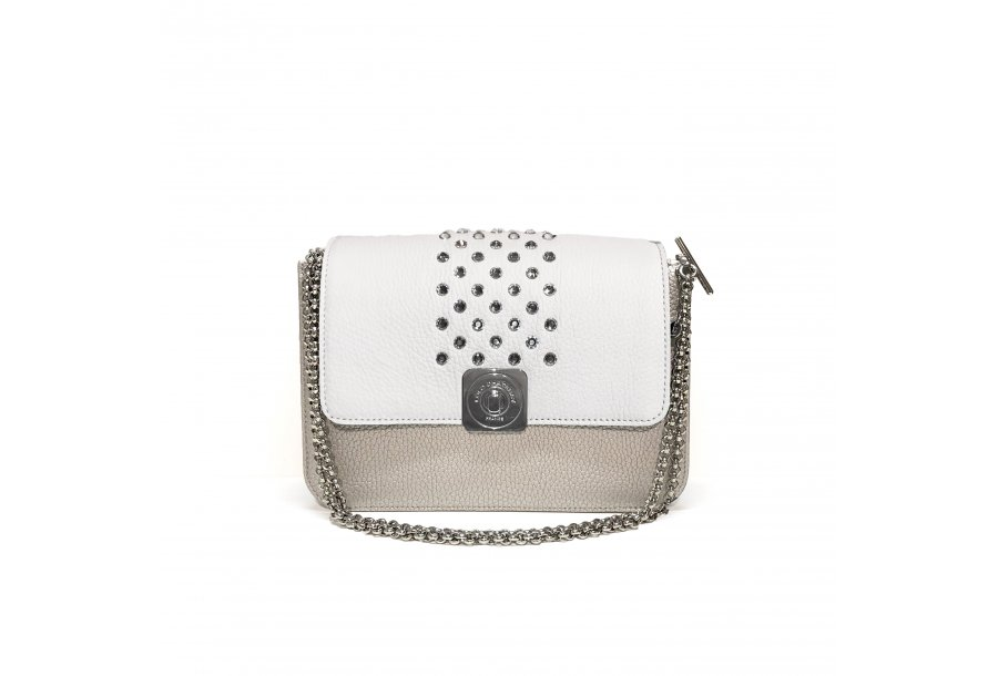 Silver LITTLE BAG - White & Zebra GUS STRASS FLAP - Chain STRAP