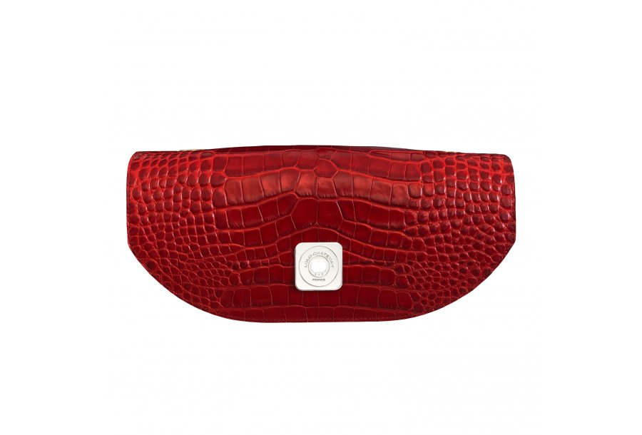 DESIREE FLAP - RED SHINY CROCO & BORDEAUX SMOOTH