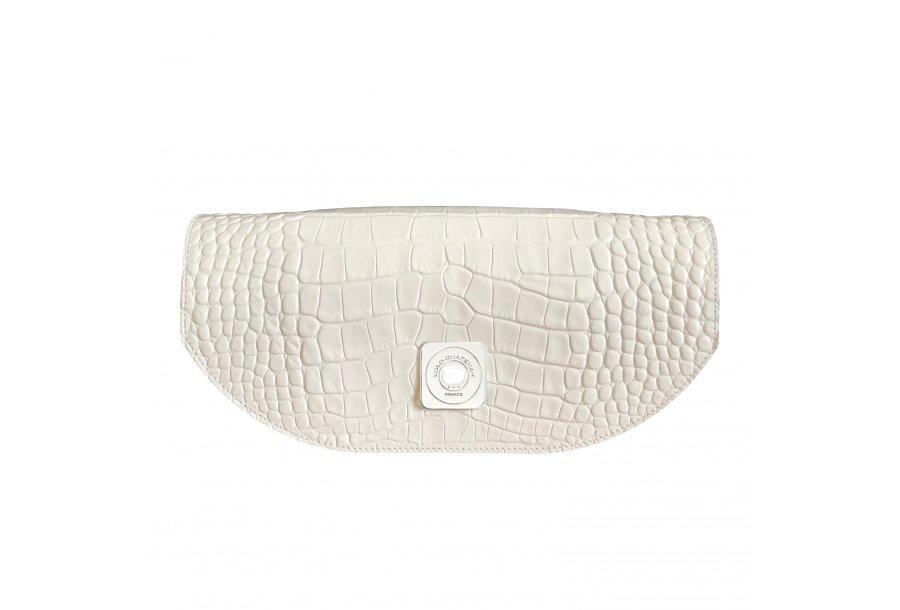 DESIREE FLAP - WHITE SHINY CROCO & ECRU SMOOTH