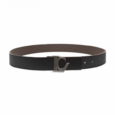 BELT 75/90 REVERSIBLE BLACK SEED AND COFFEE SEED & BUCKLE LC SILVER