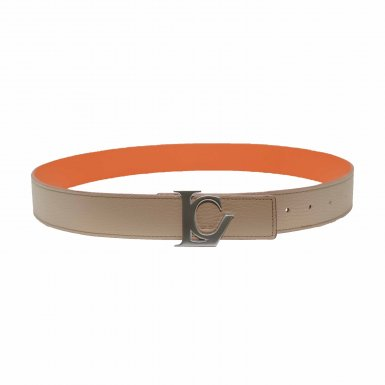 BELT 75/90 REVERSIBLE TAUPE SEED AND MANGO & POLISHED STEEL LC BUCKLE