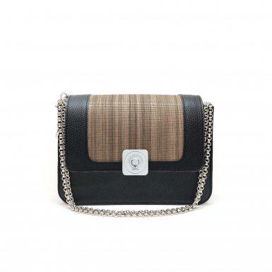 BLACK LITTLE BAG & GUS DREAM FLAP - BLACK FULL-GRAIN & WOOD & CHAIN STRAP