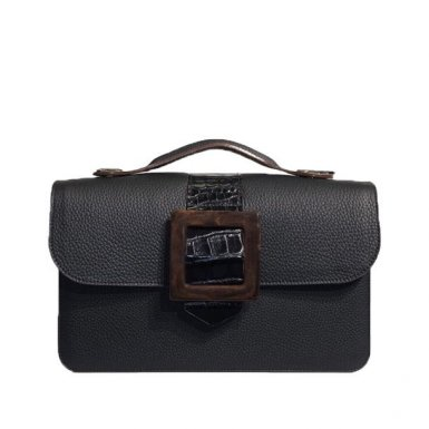 BLACK MIDDLE BAG - DESIREE FLAP WITH SQUARE BROWN BUCKLE  & BLACK LEATHER - BLACK HAND-CARRY HANDLE