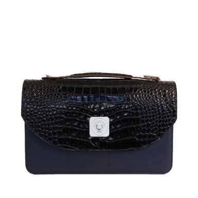 BLUE MIDDLE BAG - BLACK SHINY CROCO TIPSY FLAP - BLUE HAND-CARRY HANDLE
