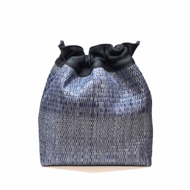 BUCKET HANDBAG BODY - BLUE WOVEN FABRIC & BLUE GRAIN LEATHER