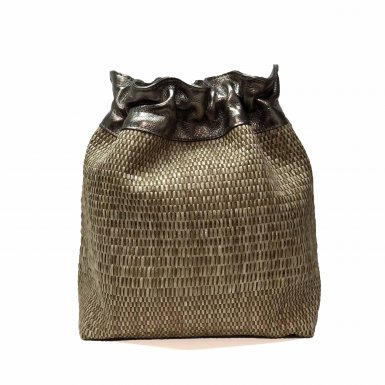 BUCKET HANDBAG BODY - CAMEL WOVEN FABRIC & BRONZE METALIC LEATHER