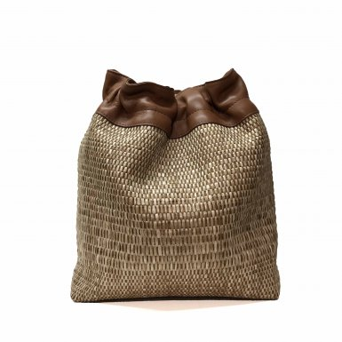 BUCKET HANDBAG BODY - CAMEL WOVEN FABRIC & CAMEL CALFSKIN LEATHER