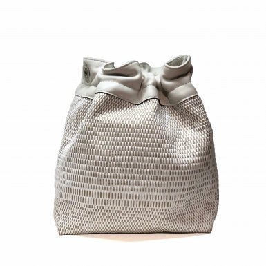BUCKET HANDBAG BODY - WHITE WOVEN FABRIC & ECRU CALFSKIN LEATHER