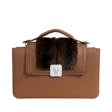 CAMEL MIDDLE BAG - CAMEL AND BROWN FAUX-FUR GUS DREAM FLAP - CAMEL HAND-CARRY HANDLE
