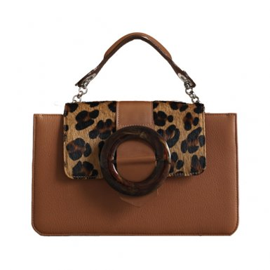 CAMEL MIDDLE - GUS ROUND BUCKLE & LEOPARD EFFECT FUR - CAMEL HAND-CARRY HANDLE