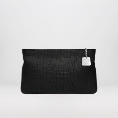 Clutch bag: Black alligator-effect bullcalf leather