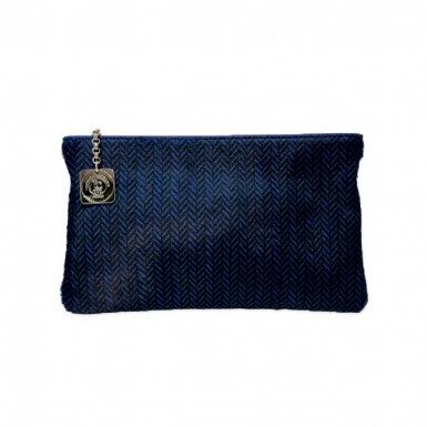 CLUTCH BAG BODY - BLACK & BLUE CHEVRON PONY-EFFECT FUR