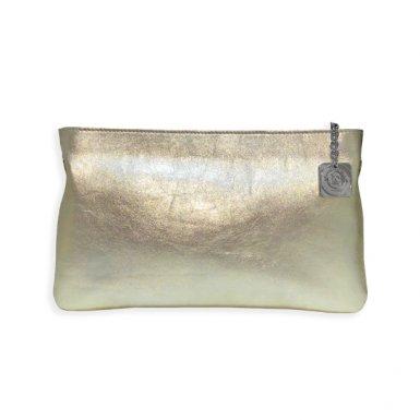 Clutch bag body: calfskin Champagne metallic leather