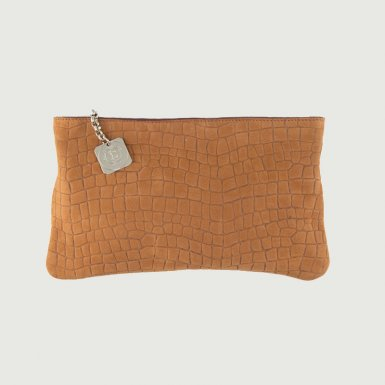 Clutch bag body: Camel alligator-effect nubuck