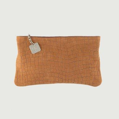 Clutch bag body: Camel alligator-effect nubuck