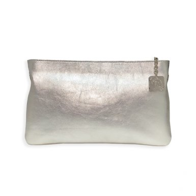 f0a3379200791 Clutch bag body  Matt Silver metallic calfskin leather